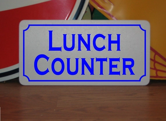 Art deco lunch counter metal sign for farm ranch or kitchen for Kitchen counter sex