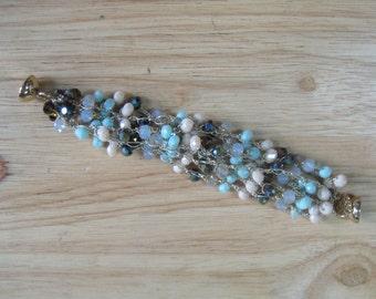 Mint Crystal Crochet Bracelet