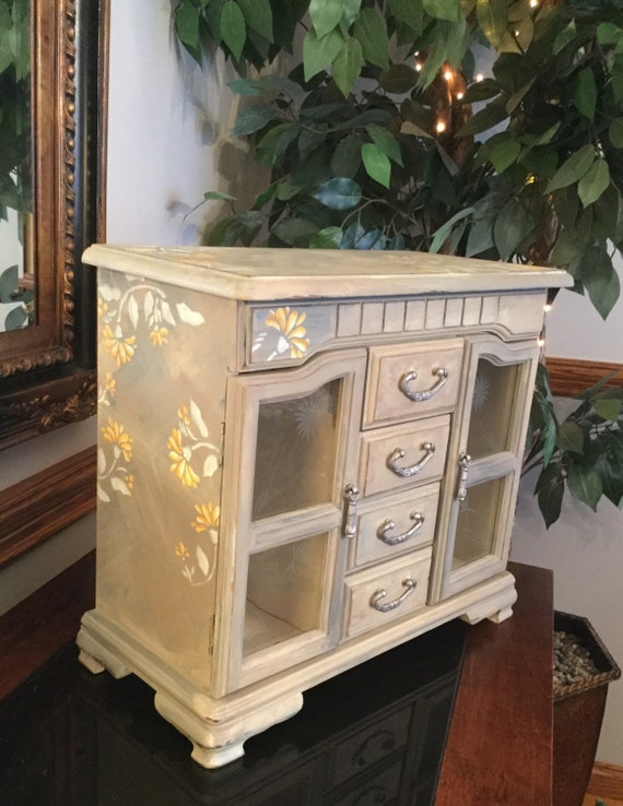 Upcycled Shabby Chic Jewelry Armoire // Large Vintage Hand