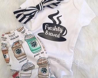 Freshly Brewed Coffee Onesie/ Baby Leggings/ Headwrap/ Coffee Onesie/