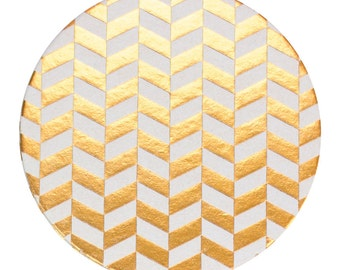Golden Herringbone Foil Coaster Set, Foil Coasters, Gold Foil, Reusable Coasters, Tabletop, Holiday Coasters, New Year, Christmas, Hannukah