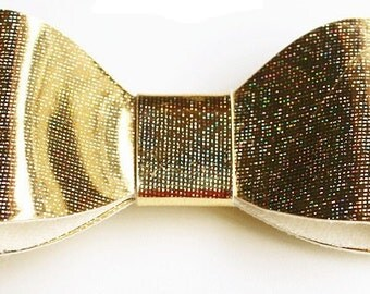 Baby/Toddler/Girl/Adult 2.75 Inch Hologram / Reflective Hair Bow on Lined Alligator Clip - Gold