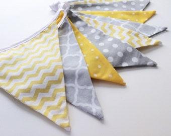 Yellow and Grey Bunting, Gender Neutral Bunting, Baby Nursery Bunting, Gray Yellow Banner, Baby Shower Decor, Wedding Bunting, Nessa Foye