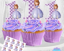 Sofia the First Cupcake Toppers, Cupcake Picks PRINTABLE