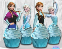 Disney Frozen Cupcake Toppers, Disney Frozen Cupcake Picks, OLAF Included, DIGITAL FILE, You Print