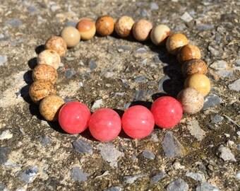Jasper and Pink Stone Stretch Bracelet