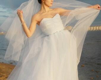 Tulle wedding veil  Simple blusher tulle veil Bridal veil Short wedding veil Blusher veil  Unique wedding veils Wedding accessories Custom