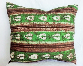 African Batik Cushion Cover - Earthy Green & Brown