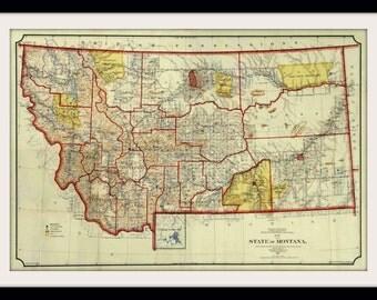 Montana Vintage Map (1897)