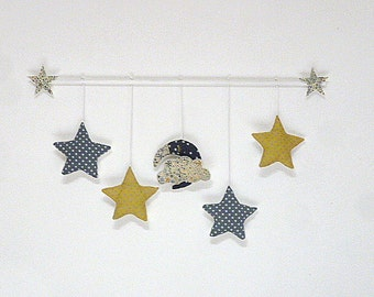 Mobile suspension stars Moon Liberty Adelajda Japanese blue cloud yellow mustard gold