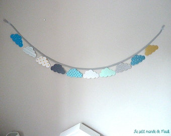 Large wreath of clouds in fabric white grey yellow turquoise mint available at will!