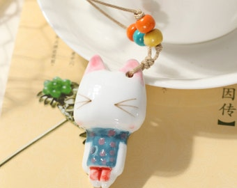 Pink Ears Cat Necklace Jewelry Ceramic Cat Charm Cat Jewelry Gift Fat Cat Necklace Porcelain Animal Pendant White Cat Cute,Ceramic Jewelry