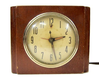 GE Mahogany Art Deco Clock