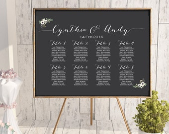 White Floral Wedding Seating Chart, Find your Seat, Wedding Seating Poster, Wedding Seating Sign, Wedding Seating Board WD13