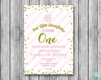 Winter Onederland invitation, Winter Invitations, First birthday party Invitation, Birthday girl, Gold SN464