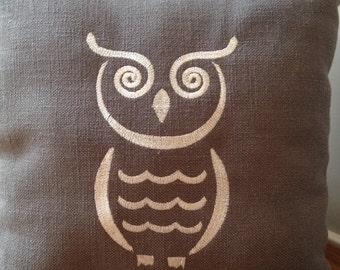 Embroidered Owl Pillow On Gray Fabric