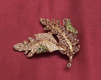 Vintage Large Dramatic KJL Kenneth J Lane Rhinestone Autumn Leaf Brooch