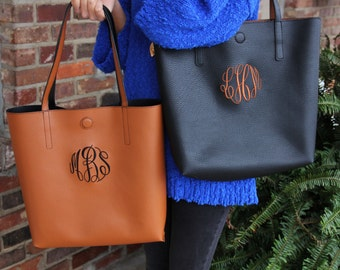 Embroidered Faux Leather Monogram Tote