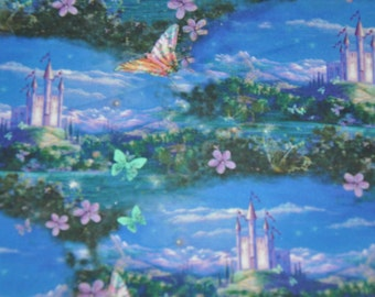 New!  One Yard of Dreamland/FairyTale Castle in the Clouds 100% Cotton Quilt Fabric by Quilting Treasures