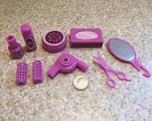1980s Vintage Barbie Bathroom Accessories - Fuschia - Miniature - Barbie Accessories - Plastic - Curlers - Scissors - Mirror - Hair Dryer