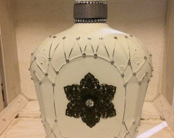 Eggshell Crown Bottle with rhinestones