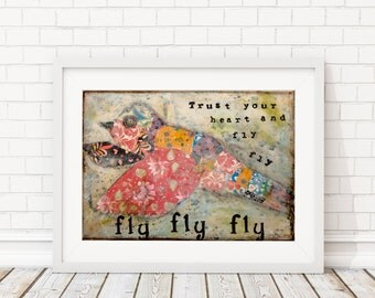 Wall art print of an original mixed media painting - bird