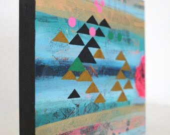 Original painting, geometry, trinangles, unique art, painting on wood, abstract art, modern art, modern painting, interior design, wall art
