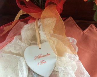 "Lovely Flat Heart Ornament - ""2 Branches 1 Tree"""