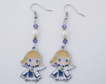 Fate Stay Night Saber Swarovski crystal earrings anime cosplay jewelry