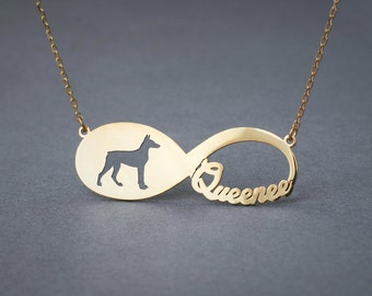 14k Solid Gold Personalised INFINITY DOBERMAN Necklace - 14k Gold Doberman Necklace - Name Necklace