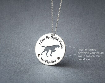 Personalised DISC ENGLISH POINTER Necklace / Circle dog breed Necklace / Pointer necklace/ Silver, Gold Plated or Rose Plated.
