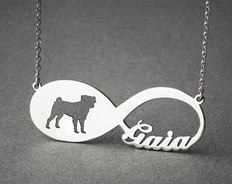 Personalised INFINITY PUG Necklace - Pug necklace - Name Necklace - Memorial Necklace - Dog Necklace