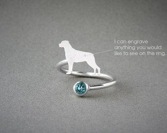 Adjustable Spiral ROTTWEILER BIRTHSTONE Ring / Rottweiler Birthstone Ring / Birthstone Ring / Dog Ring