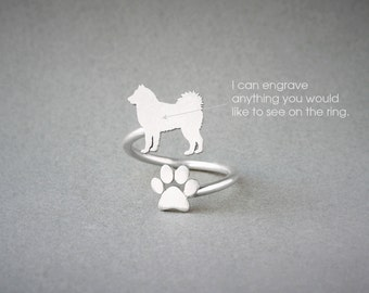 Adjustable Spiral SIBERIAN HUSKY and PAW Ring / Husky  Ring / Paw Ring /Dog Ring / Silver, Gold Plated or Rose Plated.