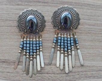 Native American Silver Earrings--Beaded