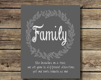 8x10 - Family - like branches on a tree we all grow in different directions yet our roots remain as one - INSTANT DIGITAL DOWNLOAD
