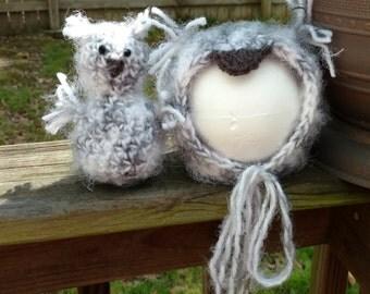 Newborn owl hat, owl bonnet, owl stuffie bonnet and stuffie, Newborn photography prop, owl costume