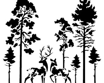 6/6 inches vintage deers in trees stencil