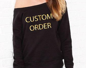 Custom Sweatshirt. Custom Sweater. Personalised Sweatshirt. Personalized Sweater. Women's Off The Shoulder Sweatshirt. Custom Printed Jumper
