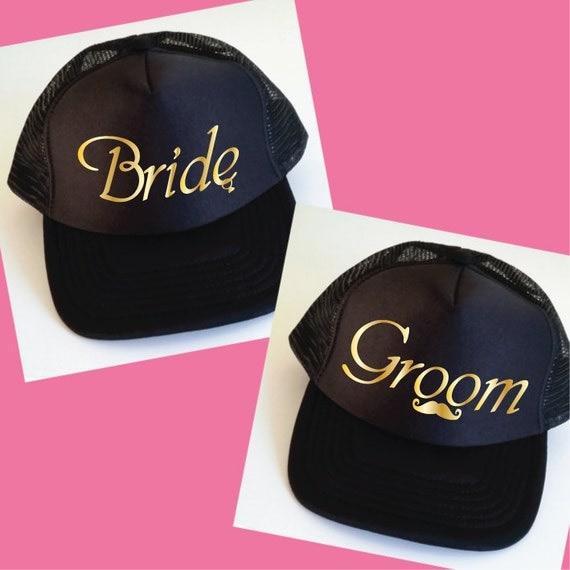 Bride and Groom Trucker Hats. Set of Wedding Caps. by SoPinkUK