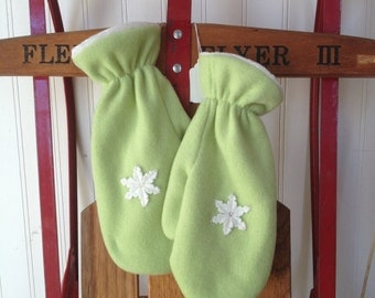 Snowflake Embellished Polar Fleece Mittens