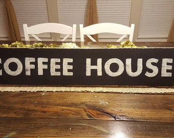 Coffee House Sign, Hand Painted Sign, Kitchen Sign,Wood Sign, Farmhouse Decor,Distressed Sign, Country Decor, Shabby Chic Decor, Rustic Sign