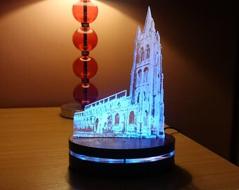 St James Church Medieval Cathedral Acrylic Light Display, Remote Control Colour Changing LED Desk Lamp, Illuminated LED Home Decor, Louth