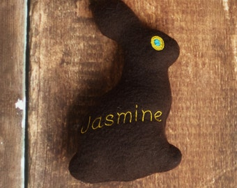 Easter Dog Toy Chocolate Bunny Treat Pocket Personalized Stuffed Squeaky Toy
