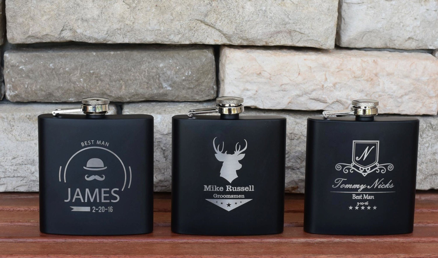 Personalized Wedding Gifts For Groomsmen: Personalized Flask Wedding Gift 7 Groomsman Flasks