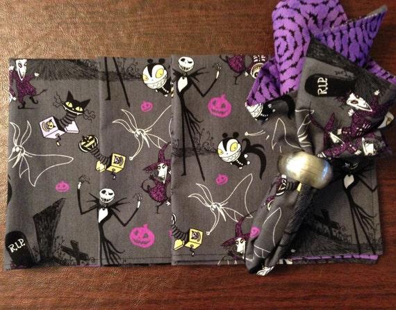 Halloween fabric napkins nightmare before christmas set of for Halloween cloth napkins