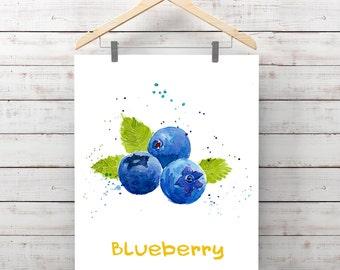 Blueberry Illustration Watercolor Painting Decor Ideas Kitchen Mirtilli Myrtille Fruit
