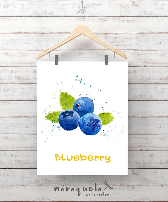 BLUEBERRY illustration watercolor, painting. Decor ideas kitchen, mirtilli , myrtille , fruit, fresh art wall, ideas for kitchen, gift ideas