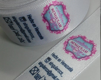 Label roll in satin ribbon 2, 5cm width x 30 meters (500 labels 6 cm)