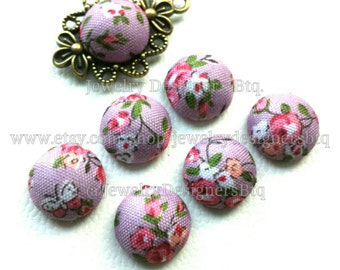 13mm Floral Fabric Cabochon Kawaii Flower Plants Cabochons Dome Shape Flat Back No Holes Button Buttons Jewelry Craft Supplies DIY Supply